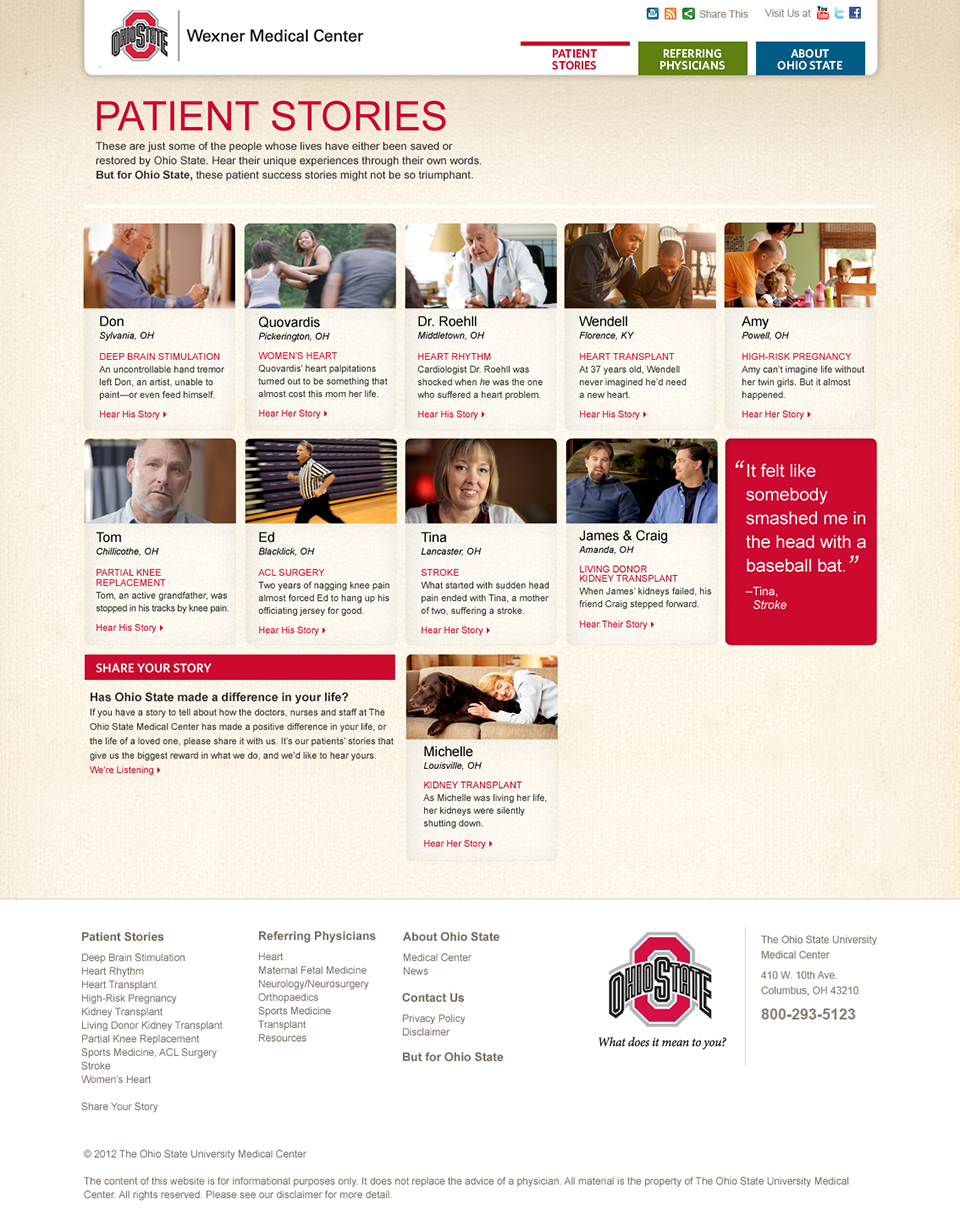 Only Ohio State | Website – Patient Stories